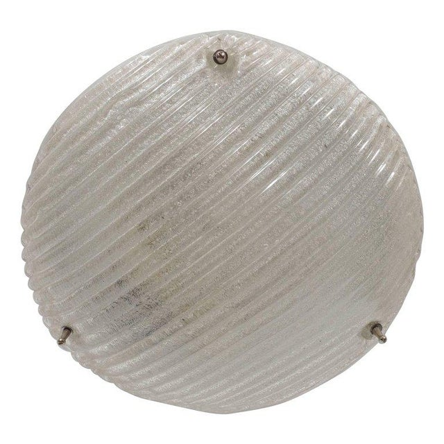 Metal Striated Mid-Century Modernist Flush Mount with Nickel Fittings For Sale - Image 7 of 7