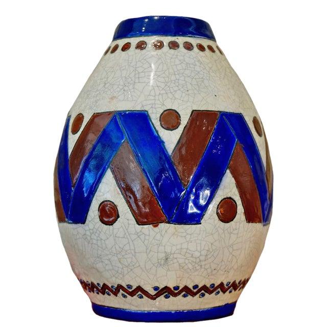 1920s Jacques Adnet Glazed Vase For Sale