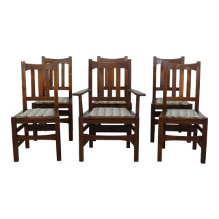Set of 6 Stickley Antique Mission Oak Dining Room Chairs For Sale