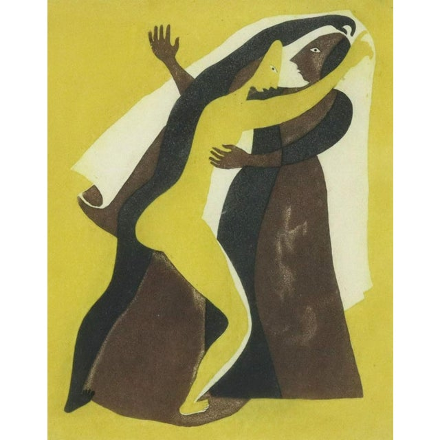 """Framed aquatint etching on paper, Two Figures Dancing, from the portfolio """"Tres Aguafuertes en Color,"""" c.1939. The framed..."""
