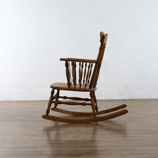 Antique Spindle Back Oak Rocking Chair For Sale - Image 4 of 8