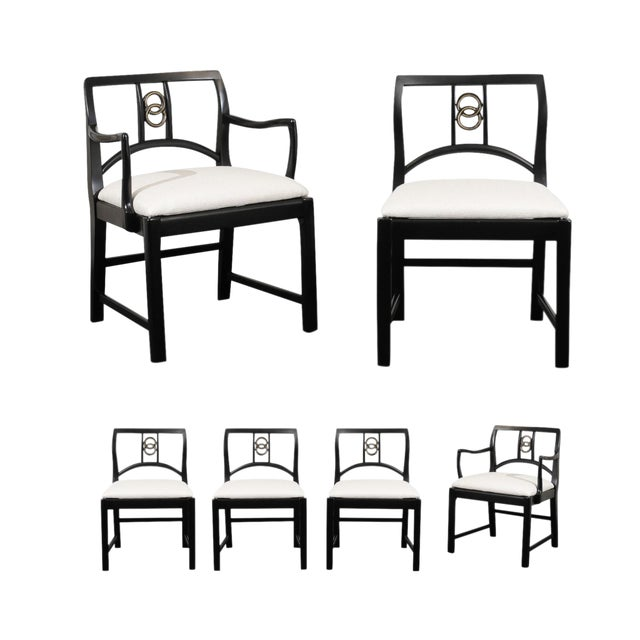 Chic Restored Set of 6 Dining Chairs by Baker Furniture, circa 1960 For Sale
