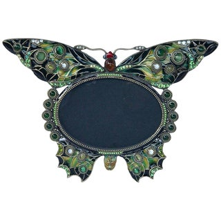 Enameled and Jeweled Butterfly Frame, in the Manner of Jay Strongwater For Sale