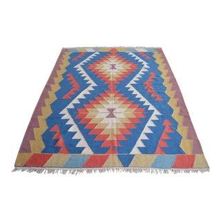 Hand Woven Turkish Rug Kilim Wool Rug Flat Weave Area Rug - 5′1″ × 7′ For Sale