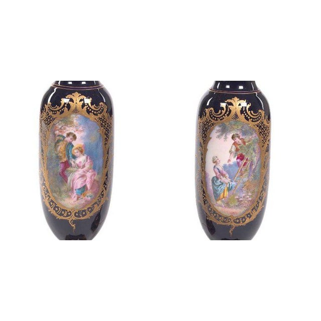 1900s Pair of Sèvres Style Ormolu-Mounted Urns, Now as Lamps For Sale - Image 5 of 7