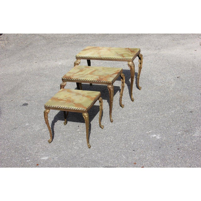 1940s French Maison Jansen Bronze Onyx Top Nesting Tables - Set of 3 For Sale - Image 10 of 13