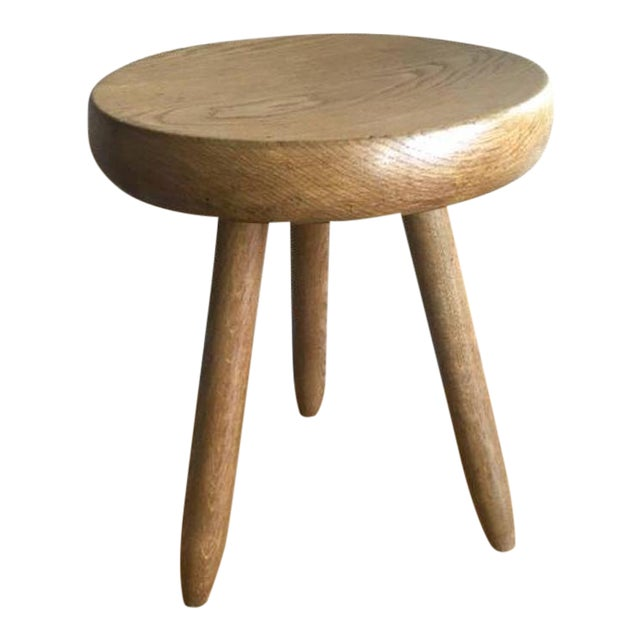 Charlotte Perriand 1950s High Tripod Ash Tree Stool in Vintage Condition For Sale