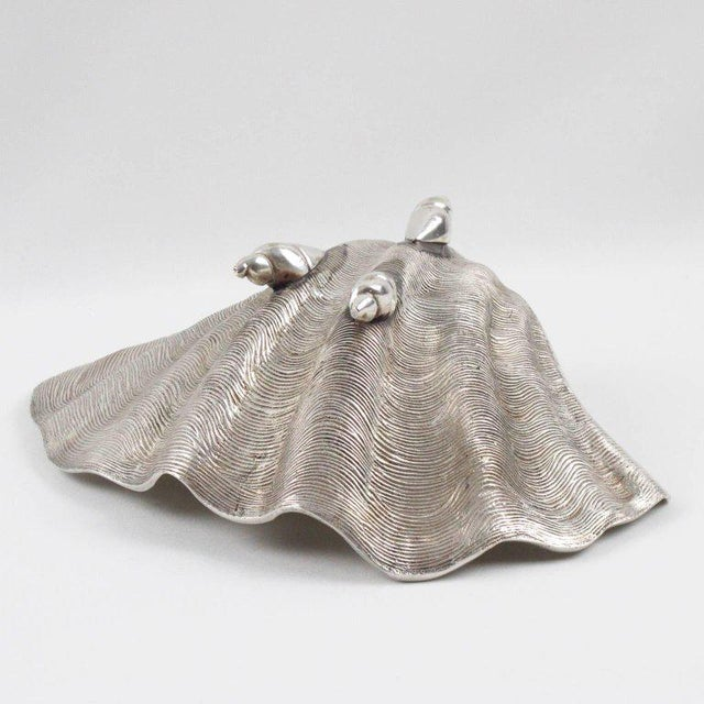 Silver Italian Mid-Century Modern Silver Plate Clam Shell Catchall Bowl For Sale - Image 8 of 9