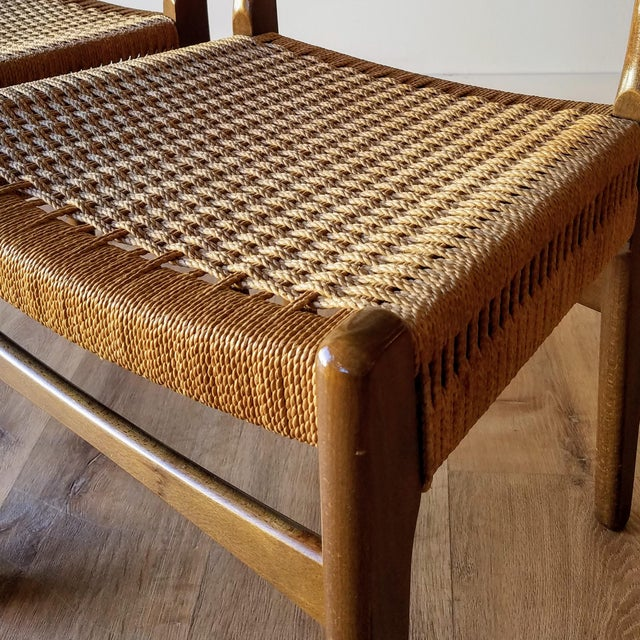 Brown Swedish Mid-Century Modern Rope Dining Chairs - a Pair For Sale - Image 8 of 13