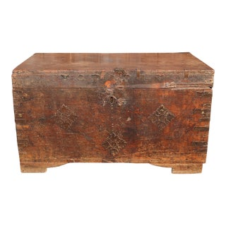 19th Century Wood Dowry Trunk For Sale
