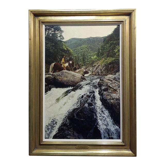 1980s Figurative Oil Painting, Indian Woman on Horseback in a Beautiful Landscape by Craig Tennant For Sale