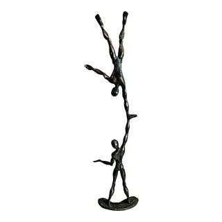 Bronze Acrobat Figurine on Marble For Sale
