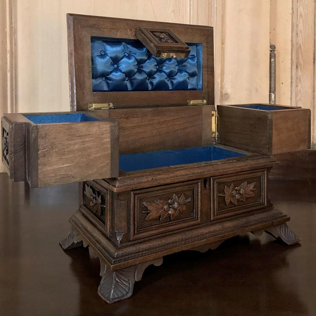 Late 19th Century Jewelry Box, 19th Century French Hand-Carved Walnut For Sale - Image 5 of 12