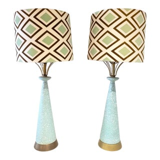 Mid Century Modern Ceramic W/Brass Accent Lamps -A Pair For Sale