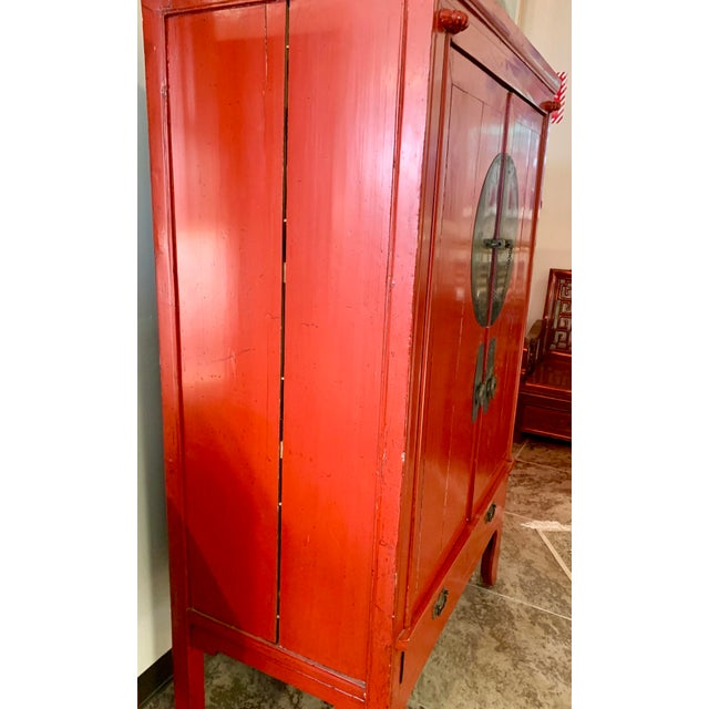 Asian Chinese Red Lacquered Armoire Cabinet For Sale - Image 3 of 11