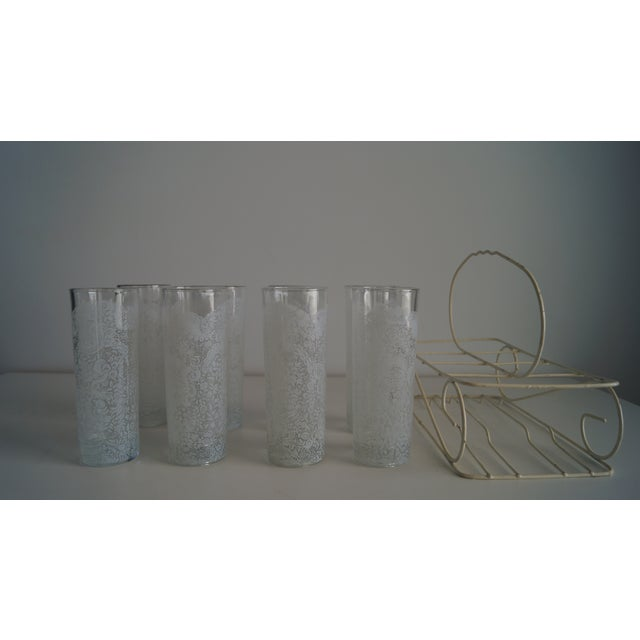 Mid-Century Modern Lace Glasses With Carrying Cart - Set of 7 For Sale - Image 3 of 5