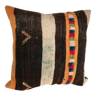 Custom Moroccan Pillow Cut From a Vintage Berber Hand Loomed Wool Rug, Atlas Mountains For Sale