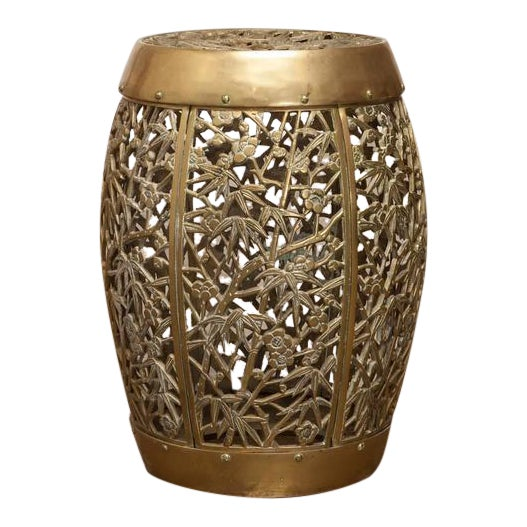 Chinese Brass Drum Side Table Chairish - Brass drum side table