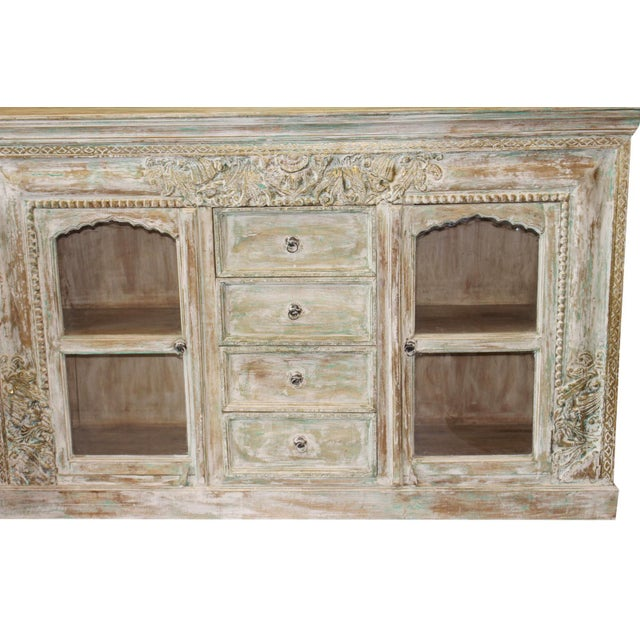 1920s Vintage Credenza Vintage Style Chest Buffet Ivory Green Carved Brass Inlay Sideboard For Sale - Image 5 of 7
