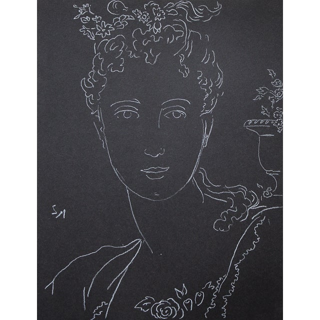 """Black Figurative Sarah Myers """"Woman With an Urn of Flowers"""" White Charcoal Drawing For Sale - Image 8 of 9"""