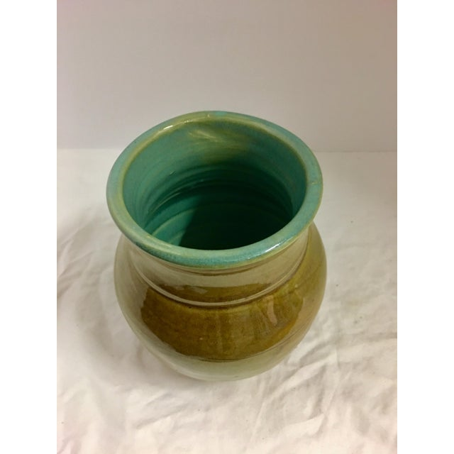 Vintage Ceramic Vase With Aqua Interior For Sale In Los Angeles - Image 6 of 10