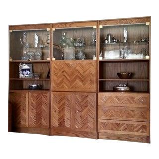 3 Section Oak Wall Unit For Sale