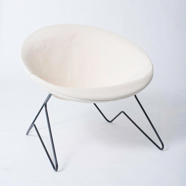 Single Cantilevered Modernist Hoop Chair with Canvas Cover For Sale - Image 4 of 10
