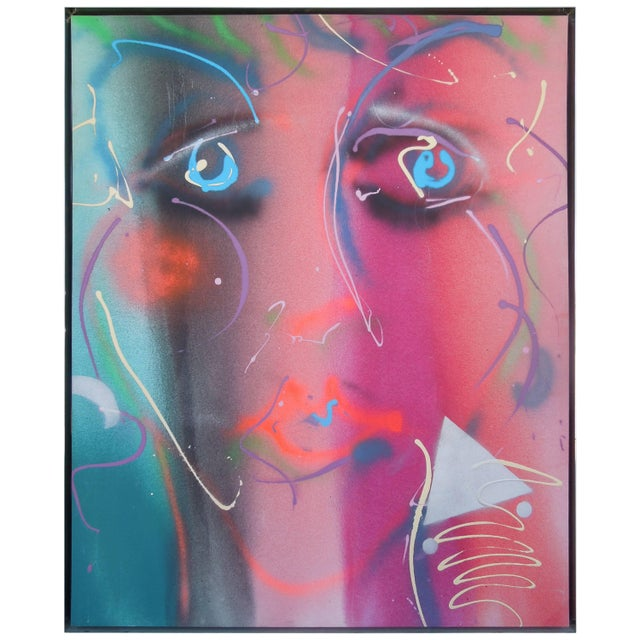 Metal 1980s Style Glam Monumental Painting Female Face by Greg Copeland For Sale - Image 7 of 7