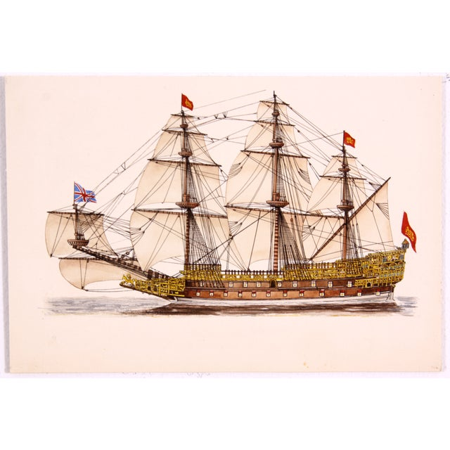 Mid-Century Sovereign of the Seas Watercolor - Image 2 of 3