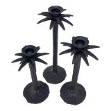 Image of Bronze Palm Tree Candle Holders - Set of 3 For Sale