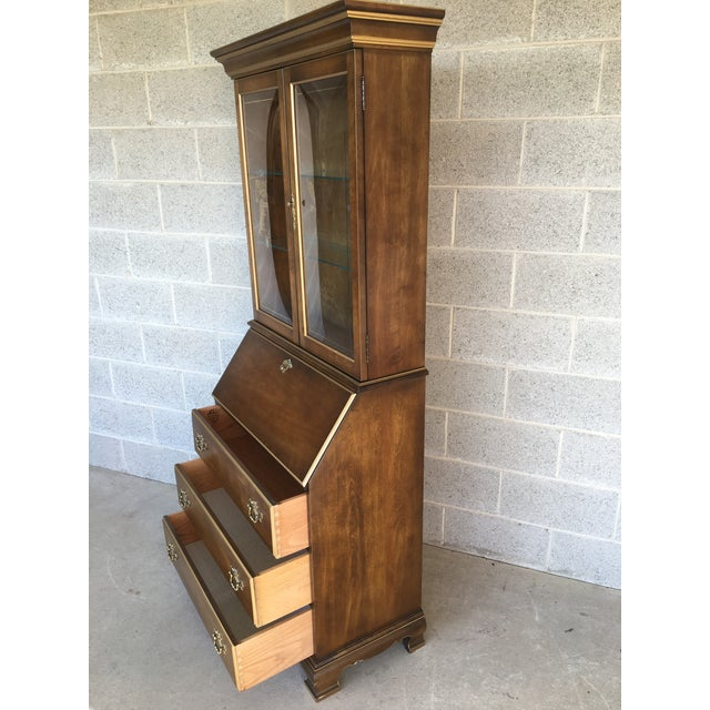 British Colonial Jasper Furniture Lighted Maple Secretary Desk For Sale - Image 3 of 11