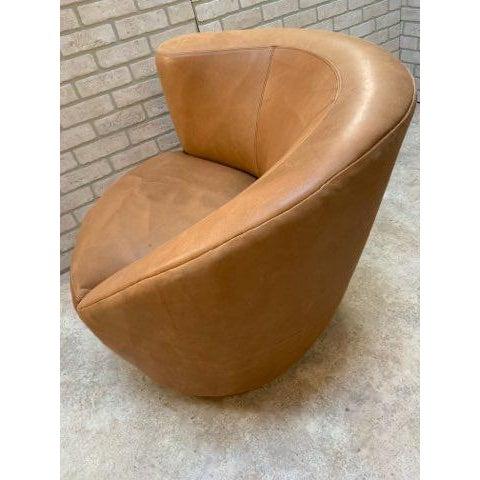Leather Mid Century Modern Vladimir Kagan Cloud Sofa and Nautilus Swivel Lounge Chair - 2 Piece Set For Sale - Image 7 of 11