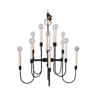 16 Arm Lightolier Iron Chandelier For Sale