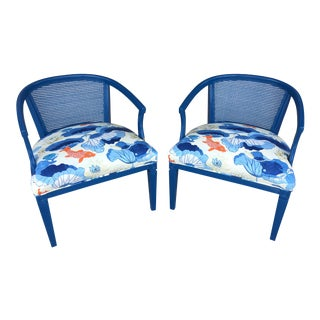 1960s Chinoiserie Blue Caned Side Chairs - a Pair For Sale