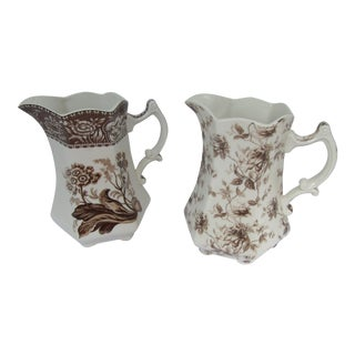 Brown & White Transfer-Ware Pitchers - A Pair For Sale