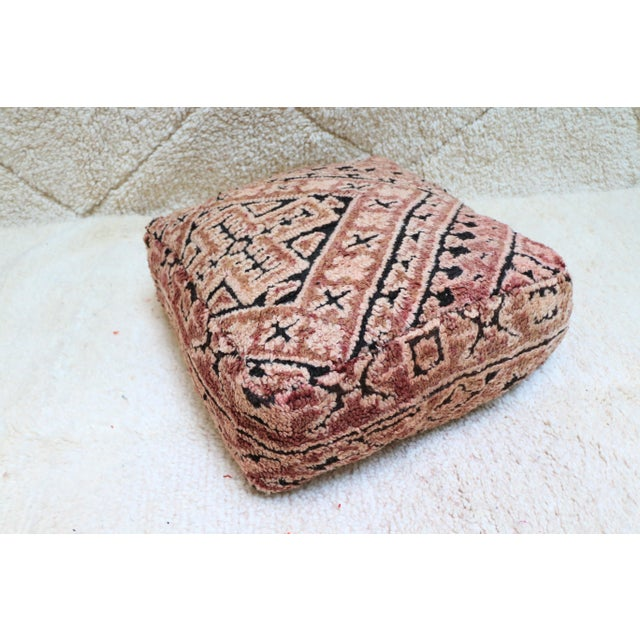 Moroccan Mauve Unstuffed Pouf Cover For Sale - Image 11 of 11