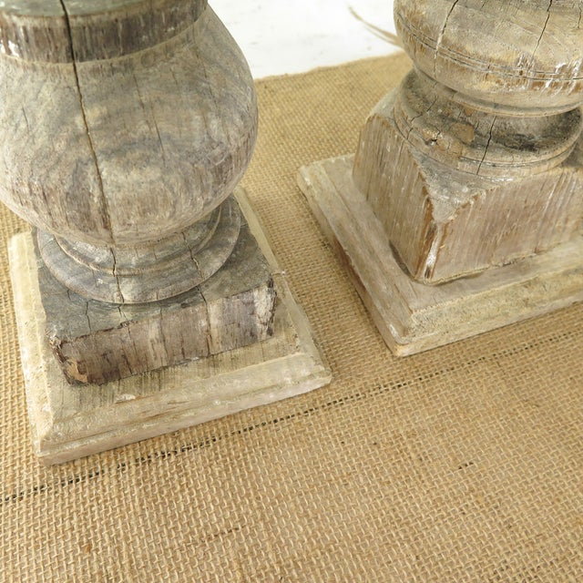 Reclaimed Wood Baluster Candle Holders - Pair - Image 7 of 8