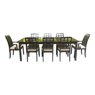 1970s Chinoiserie Greek Key Burl Wood Dining Set by Thomasville - Set of 9 For Sale