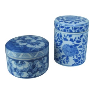 Blue & White Chinoiserie Lidded Jars- 2 Pieces For Sale
