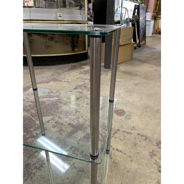 Mid-Century Modern 1970s Mid-Century Modern 3-Tier Chrome and Glass Side Table For Sale - Image 3 of 6