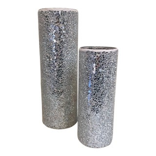 Mirrored Mosaic Vases - a Pair For Sale