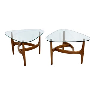 Mid Century Modern Pair of Side or End Table Wood & Glass Adrian Pearsall Attr.