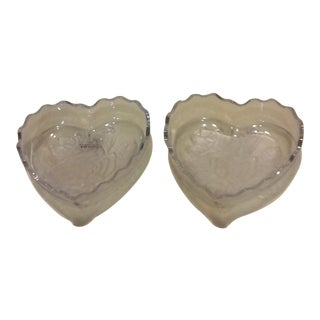 Heart Shaped Glass Bowls - A Pair