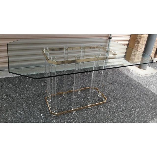 Gold Vintage Charles Hollis Jones Lucite Brass Table Base For Sale - Image 8 of 8