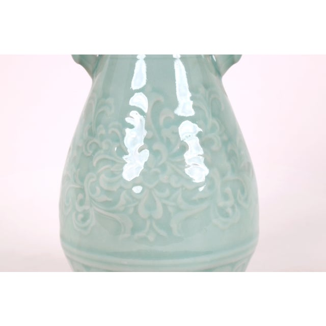 Mid 20th Century Vintage Celadon Pear Shaped Porcelain Vase For Sale - Image 5 of 13