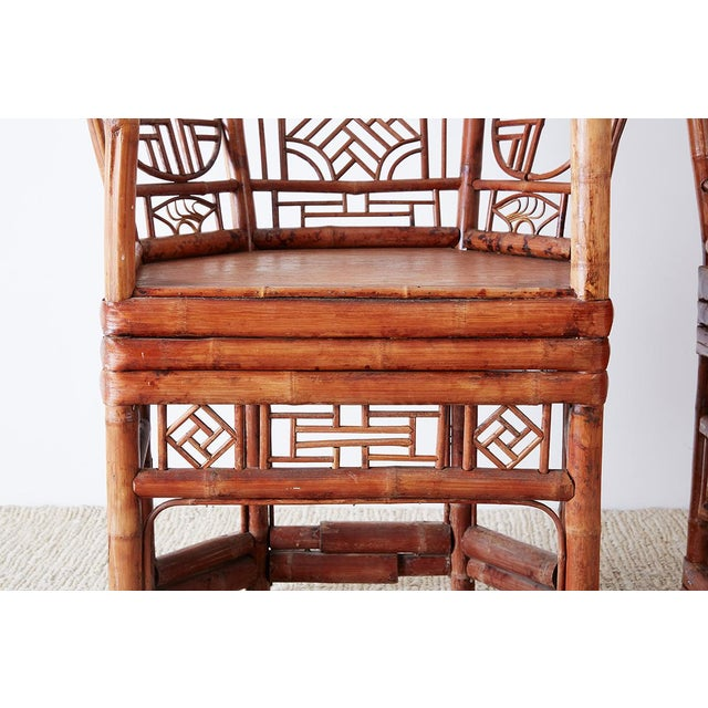 Wood Set of Four Brighton Pavillion Style Bamboo Armchairs For Sale - Image 7 of 13