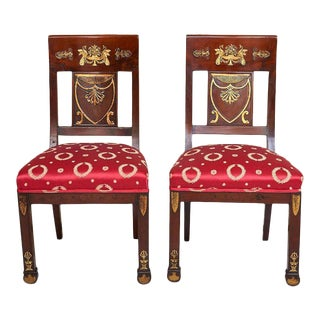French Empire Ormolu-Mounted & Giltwood Carved Side Chairs - A Pair