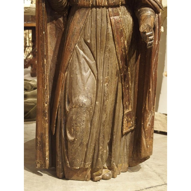 Red Large Antique Polychromed Wood Statue of a Bishop, Circa 1650 For Sale - Image 8 of 12