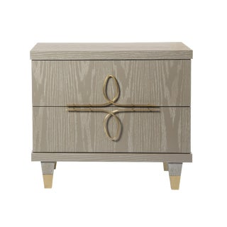 Chloe Nightstand With Drawers (Cerused Latte) For Sale