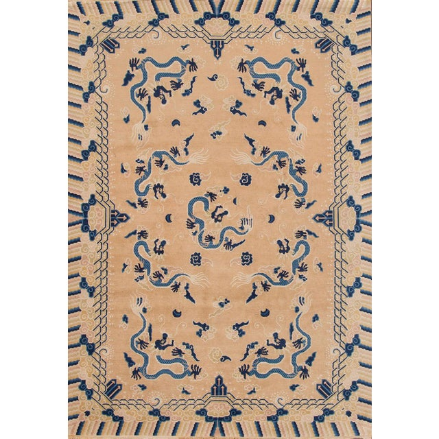 """1900 - 1909 Apadana - Antique Tan and Blue Chinese Peking Rug, 6'7"""" x 9'7"""" For Sale - Image 5 of 5"""
